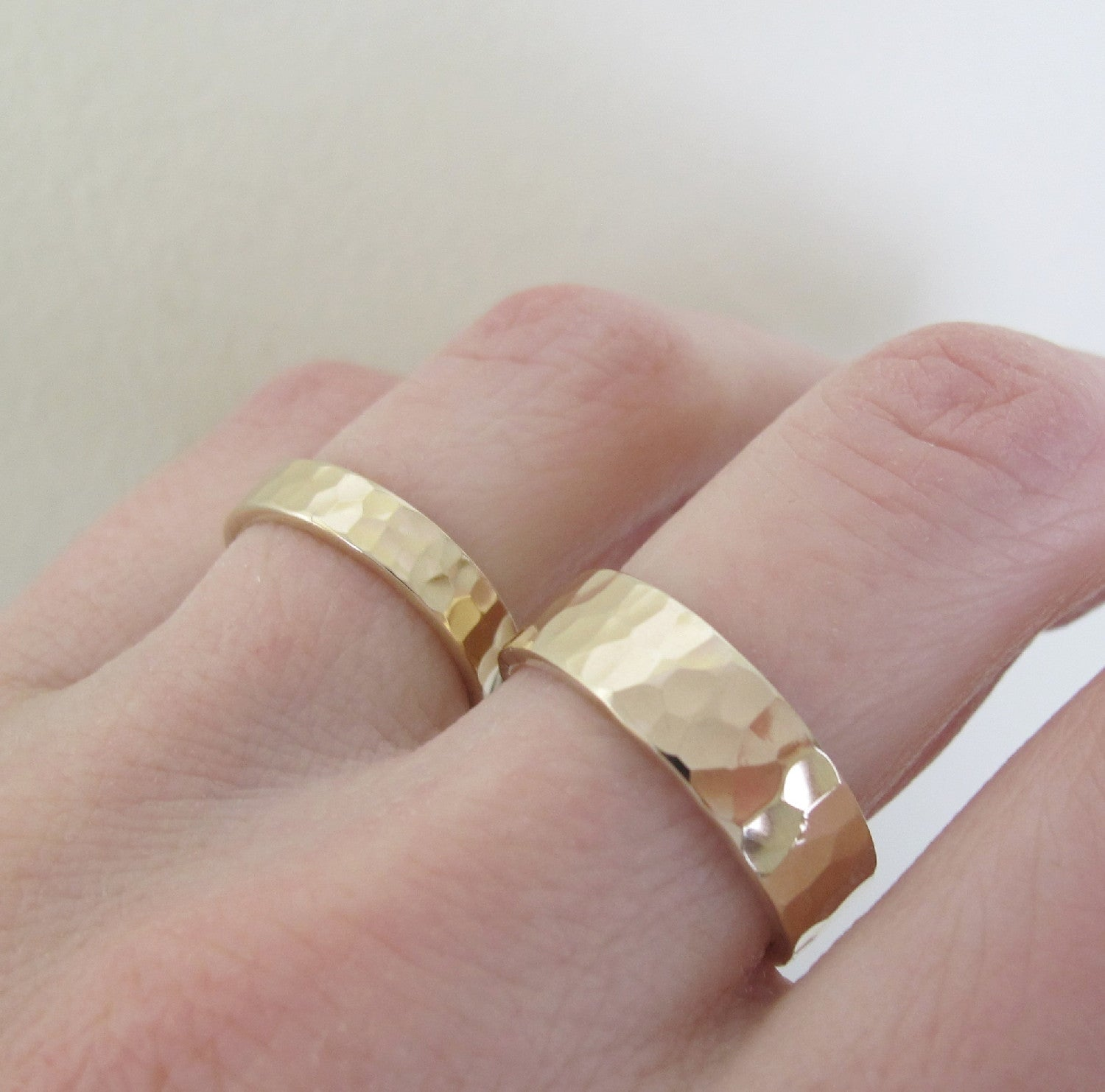 Hand Hammered Recycled Gold Ring in 14k Yellow Gold - Choose a Width - Polished or Matte Finish