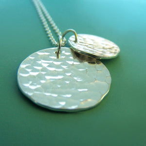 Large Two Charm Pool Necklace in Sterling Silver
