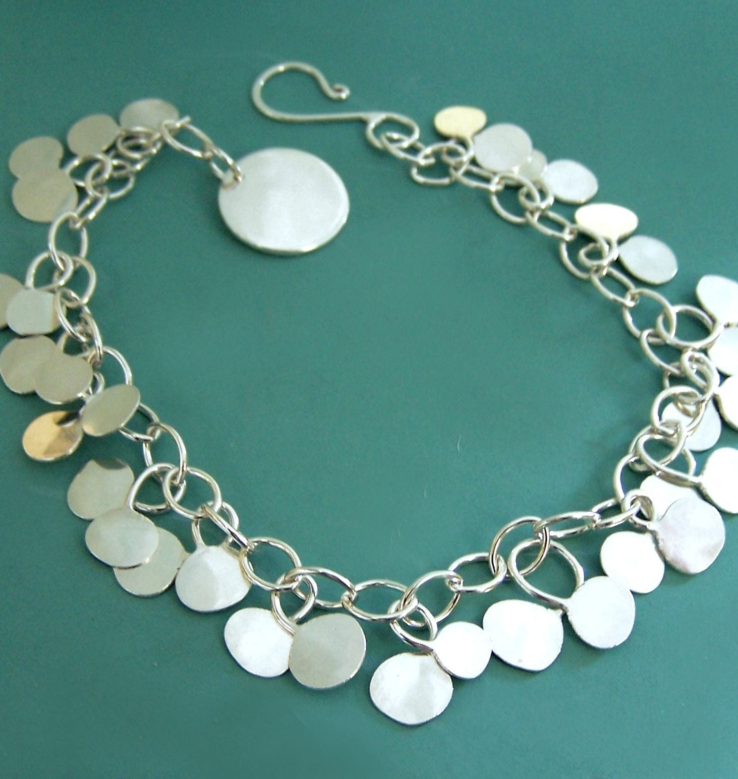 Chain Bracelet with Hammered Dots in Sterling Silver