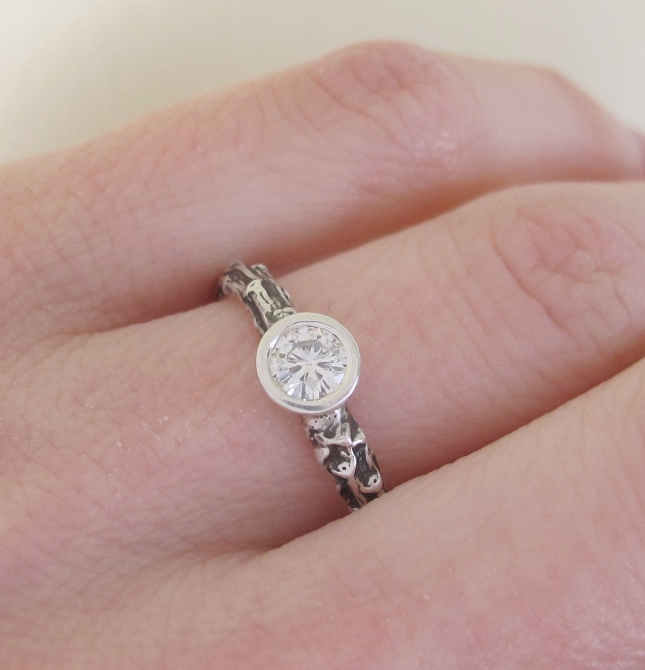 Twig Engagement Ring with Moissanite - Sterling Silver