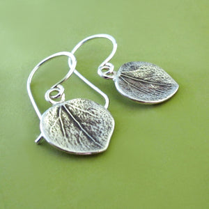 Sterling Silver Leaf Earrings - Aspen