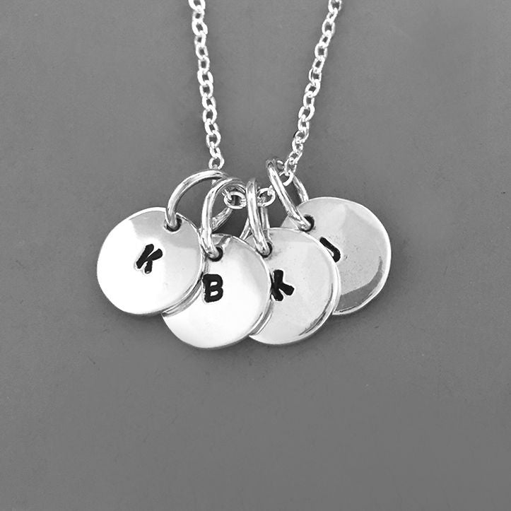 Tiny Initial Charm Necklace in Sterling Silver
