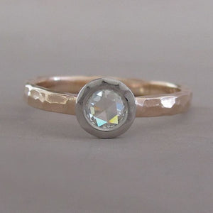 Rose Cut Moissanite Engagement Ring in 14k Rose Gold and Platinum - Hand Hammered - Choose a Stone Size