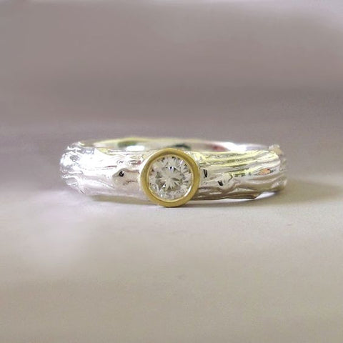 Moissanite Engagement Ring - Sterling Silver and 18k Yellow Gold - Wide Pine Branch Twig