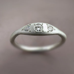 Three Stone Bead Set Ring in Moissanite and Sterling Silver or 14k Gold