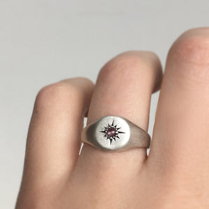 Star Signet Ring with Pink Sapphire in Sterling Silver