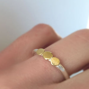 Pebble Stacking Ring in 22k Gold and Sterling Silver, Three Pebble Textured Ring, Mixed Metal Ring