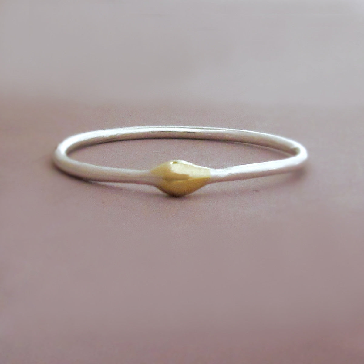 Sterling Silver and 22k Gold Stacking Ring - Rain