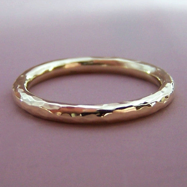 2ab860c33e1a74 2 mm Round Hand Hammered Wedding Ring in 14k Rose or 14k Yellow Gold