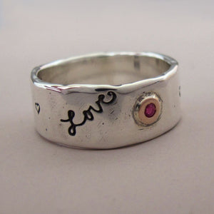 Message of Love Wide Band Ring in 14k Rose Gold, Ruby and Sterling Silver