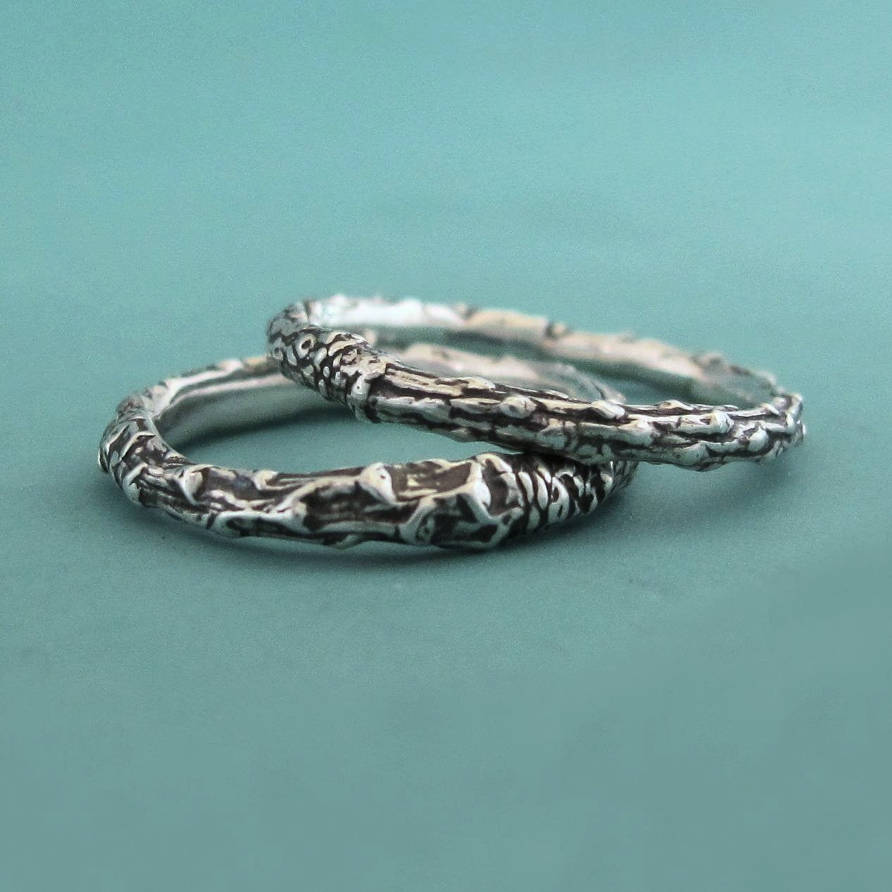 Twig Stacking Ring Set of Three in Sterling Silver - Thin Pine Branch