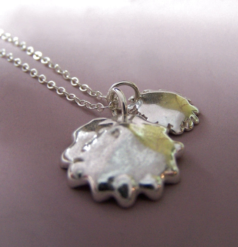 Two Charm Poppy Necklace in Sterling Silver
