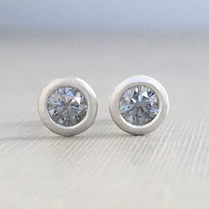 Grey Moissanite and 14k Gold or Sterling Silver Stud Earrings
