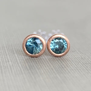 Montana Sapphire and 14k Gold or Sterling Silver Stud Earrings