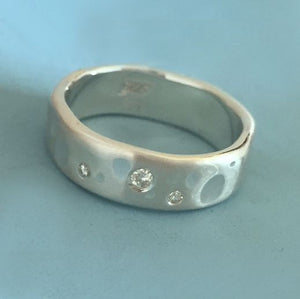 Elizabeth Scott Jewelry (esdesigns) Shoreline Eternity Ring in Sterling Silver with Moissanite