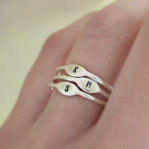 Elizabeth Scott Jewelry (esdesigns) Tiny Sterling Silver Personalized Initial Stacking Ring