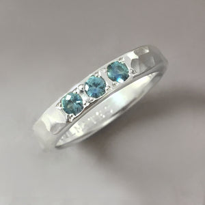 Three Stone Ring with Montana Sapphires in Sterling Silver or 14k Gold