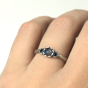 Rose Cut Labradorite, Blue Sapphire and Sterling Silver Three Stone Ring