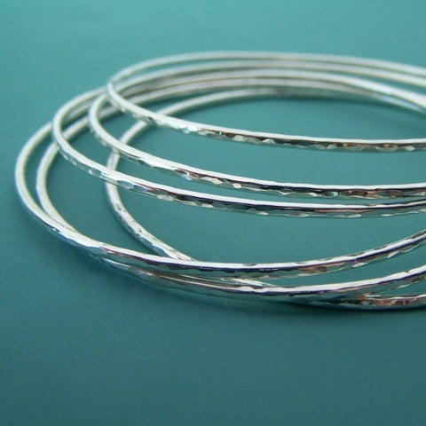 Sterling Silver Bangle Set of Six - Hammered