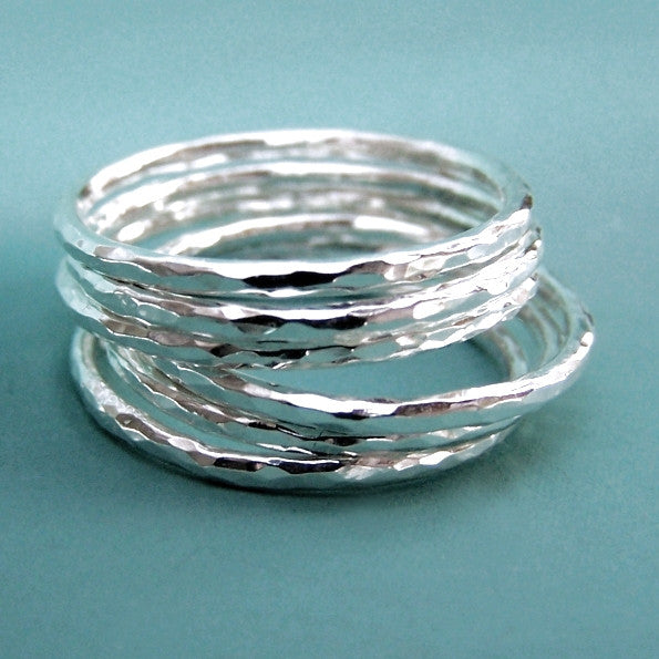 fab135918 Thin Sterling Silver Stacking Ring Set - Hand Hammered - Set of Six