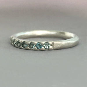 Montana Sapphire Wedding Band in Sterling Silver or 14k Gold