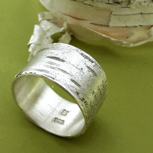 Birch Bark Ring in Sterling Silver Choose a Width