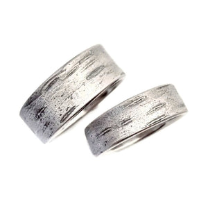 Birch Bark Wedding Ring in 14k White Gold - Choose a Width