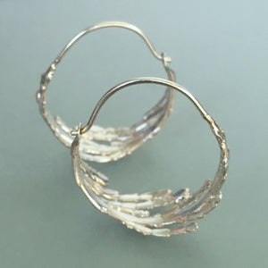 Cedar Branch Hoop Earrings - Sterling Silver
