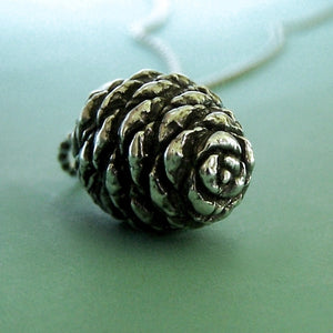 Pine Cone Necklace - Sterling Silver - Fir