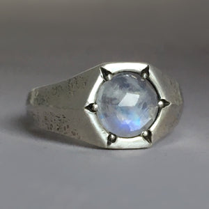 Hexagon Rose Cut Rainbow Moonstone Signet Ring in Oxidized Sterling Silver