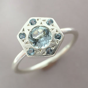 Hexagon Halo Engagement Ring in Sterling Silver and Aquamarine or 14k Gold and Moissanite