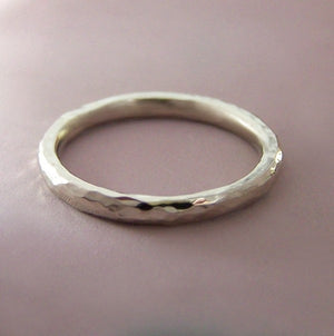 White Gold Hammered Wedding or Stacking Ring - Recycled 14k Palladium White Gold - Choose a Width