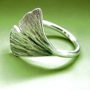 Ginkgo Leaf Ring - Sterling Silver
