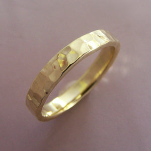 18k Yellow Gold Hand Hammered Wedding Band - Choose a Width