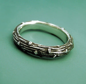 Sterling Silver Twig Ring - Wide Pine Branch