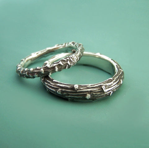 Sterling Silver Twig Wedding Ring - Recycled Sterling Silver - Pine Branch