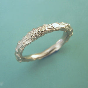 White Gold Twig Wedding Ring - 14k Palladium White Gold - Pine Branch