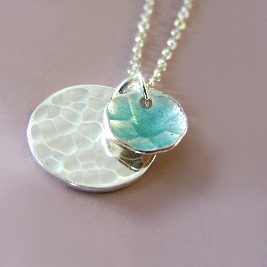 Pool necklace in sterling silver and blue enamel for Terry pool design jewelry