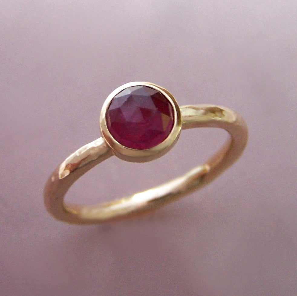 Rose Cut Ruby Ring in Hand Hammered 14k Gold