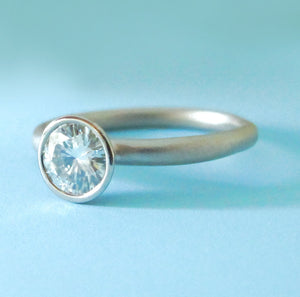 River Engagement Ring - 14k Palladium White Gold and Moissanite