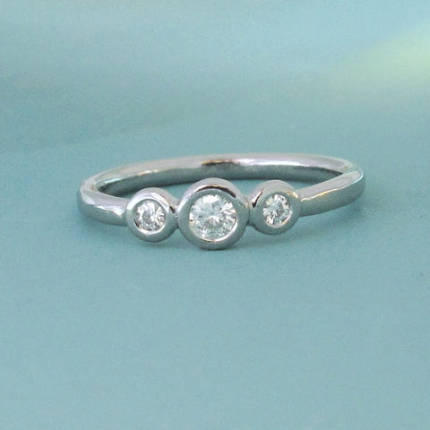 Three Stone Moissanite Engagement Ring - Palladium 950 and Moissanite