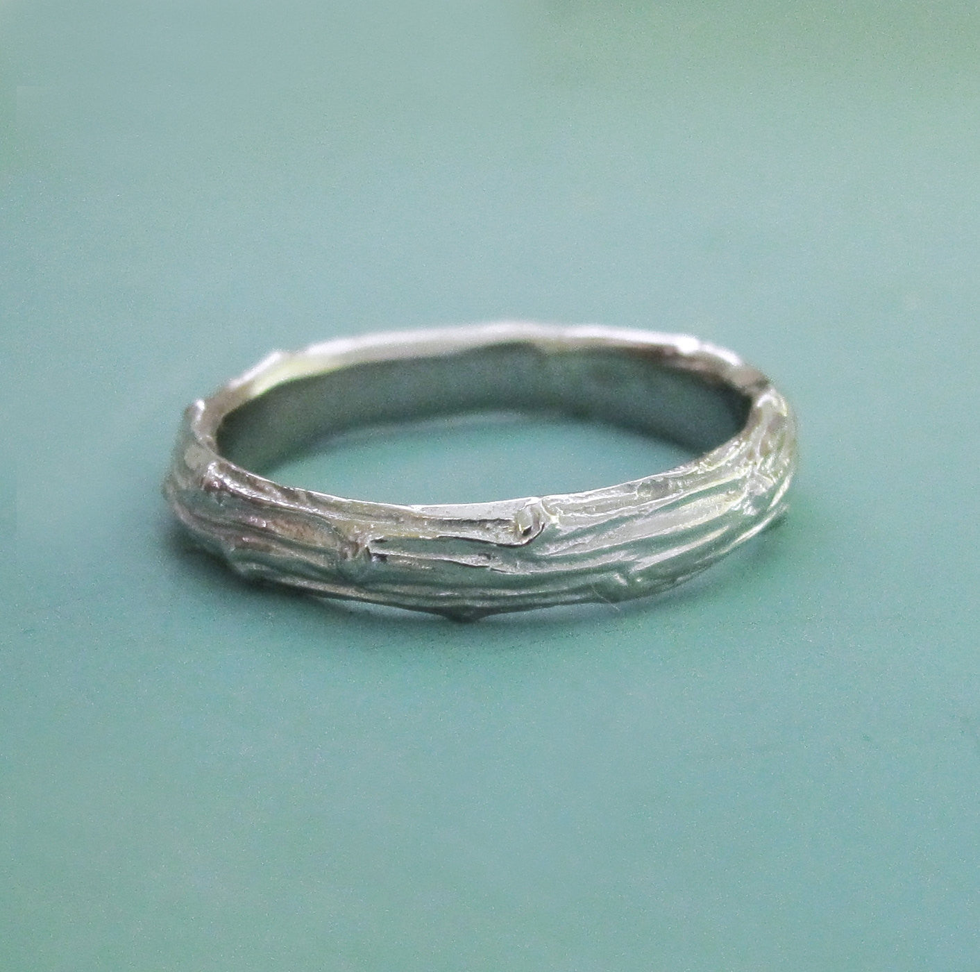 White Gold Twig Wedding Band - Recycled 14k Palladium White Gold - Wide Pine Branch
