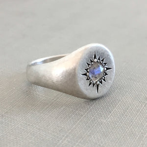 Star Signet Ring with Rose Cut Labradorite in Sterling Silver