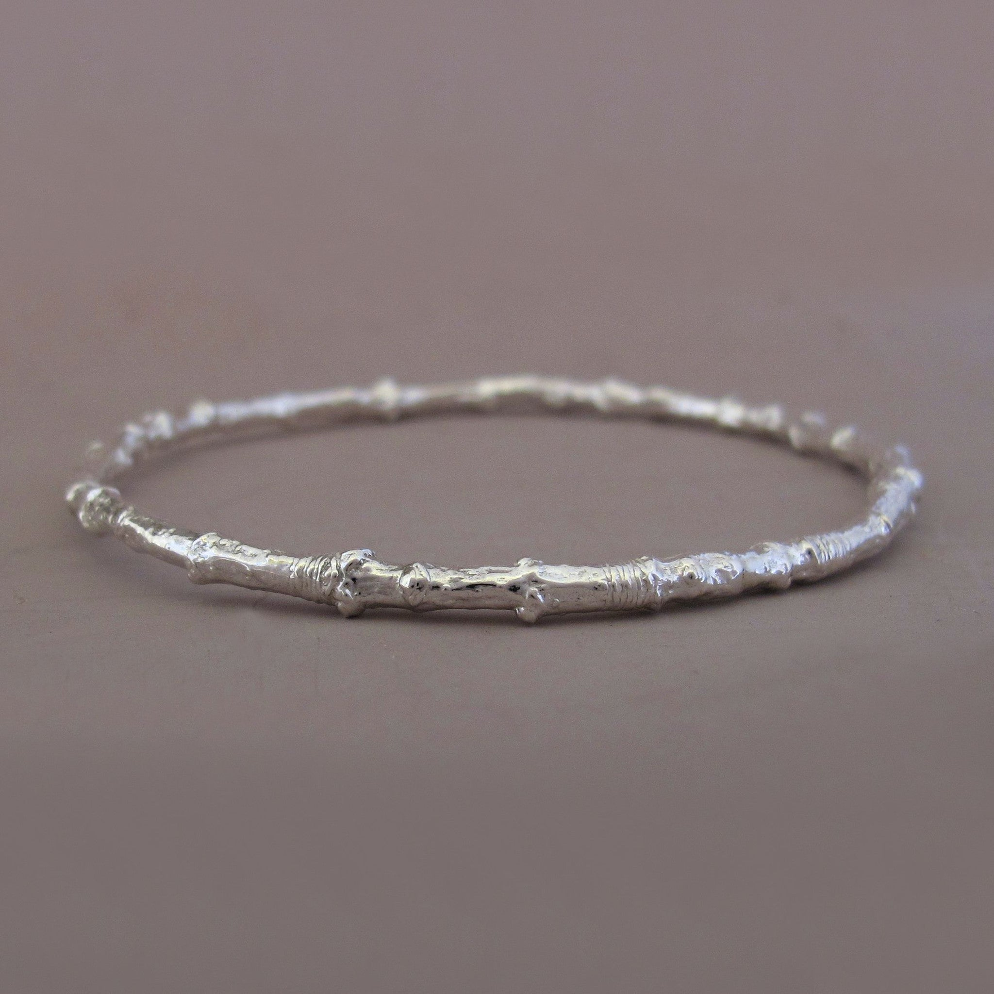 Maple Twig Bangle in Sterling Silver
