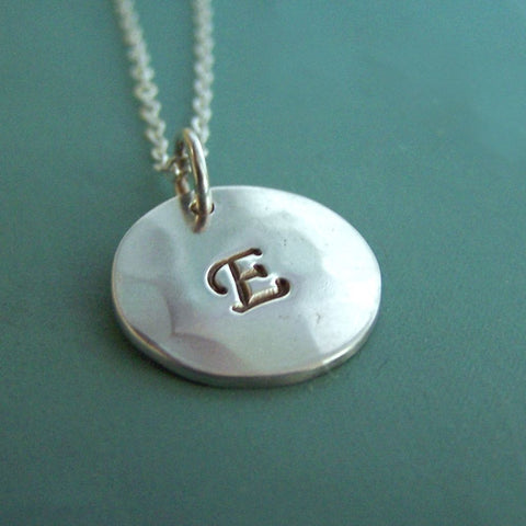 Initial Necklace in Sterling Silver - 1/2""