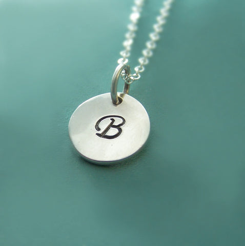 Initial Necklace in Sterling Silver - 3/8""