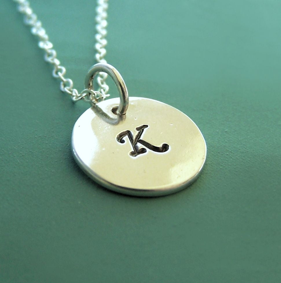Initial Necklace in Sterling Silver - 7/16""