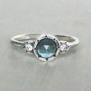 Rose Cut Moss Aquamarine, Moissanite and Sterling Silver Three Stone Ring