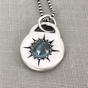 Rose Cut Moss Aquamarine Star Pendant in Sterling Silver