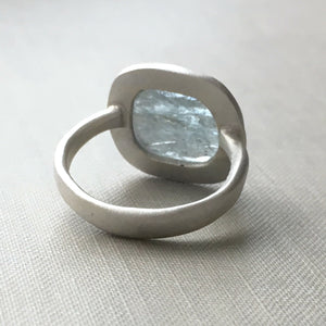 Moss Aquamarine and Sterling Silver Ocean Ring